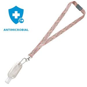 "3/4"" Antimicrobial Lanyard with Safety Neck Breakaway, Lobster Claw and Refillable Sanitizer Bottle"