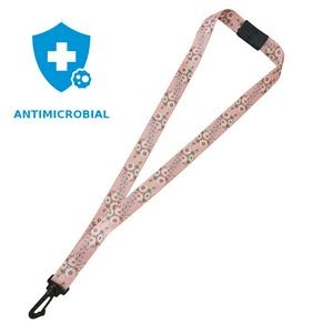 "3/4"" Antimicrobial Lanyard with Safety Neck Breakaway, Wide Plastic J-Hook and Sublimation"
